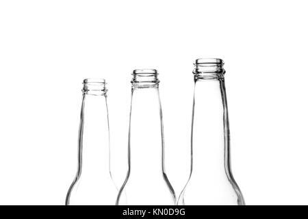 Three beer bottle necks on white - Stock Photo