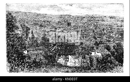 Bogota city, capital of Colombia, vintage engraving in the 1890s, South Ameold engraved illustration  City outskirt - Stock Photo