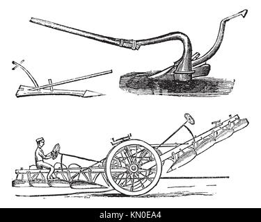Plough, vintage engraving  Old engraved illustration of several types of Ploughs - Stock Photo