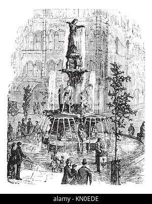 Tyler Davidson Fountain or Genius of Water or The Lady or The Fountain, in Cincinnati, Ohio, USA, during the 1890s, - Stock Photo