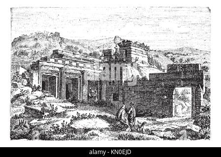 Ruins of Cyrene, in Shahhat, Libya, during the 1890s, vintage engraving  Old engraved illustration of the Ruins - Stock Photo