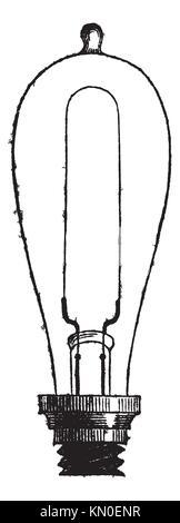 Incandescent Lamp or Carbon-filament Lamp by Thomas Alva Edison, vintage engraved illustration  Trousset encyclopedia - Stock Photo
