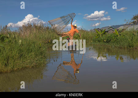 Fisherman, Inle Lake, Myanmar, Asia - Stock Photo