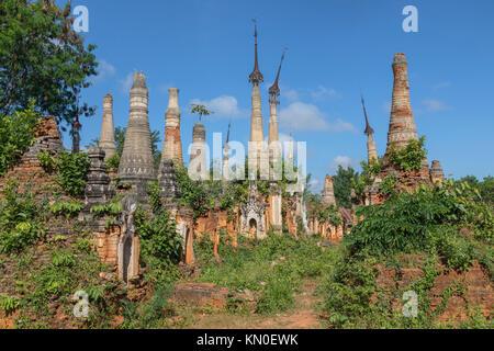 Shwe Indein Pagoda, Inle Lake, Myanmar, Asia - Stock Photo