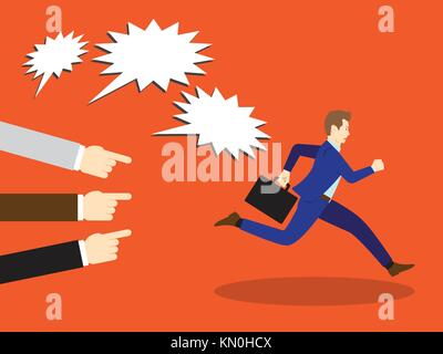 Vector Illustration Business Concept Designed As A Businessman Is Running Away From Others Accusation With Pointing - Stock Photo