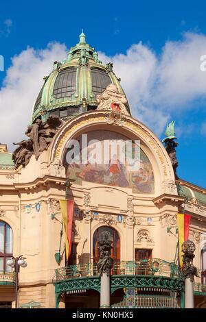 czech republic, prague - municipal house - art nouveau decoration of exterior - Stock Photo