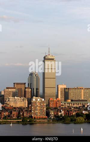 View of the Boston, MA Skyline of Back Bay, including the landmark Prudential Tower Seen from near Kendall/MIT across - Stock Photo