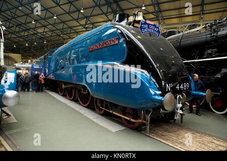 Dominion of Canada at the Great Gathering of A4 Steam Locomitives at the National Railway Museum, York, UK - November - Stock Photo