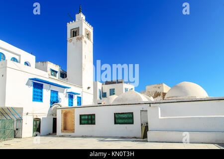 Mosque in white-blue city of Sidi Bou Said, Tunisia.  Eastern fairy tale with a French charm. - Stock Photo