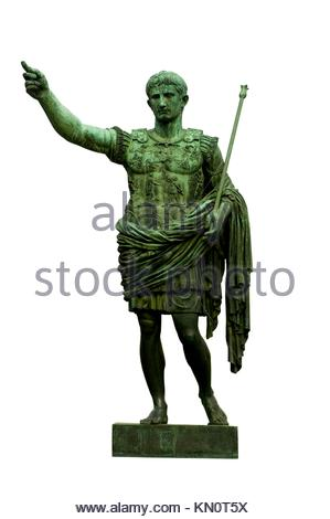 Bronze statue of emperor Caesar Augustus on Via dei Fori Imperiali, Rome, Italy - Stock Photo