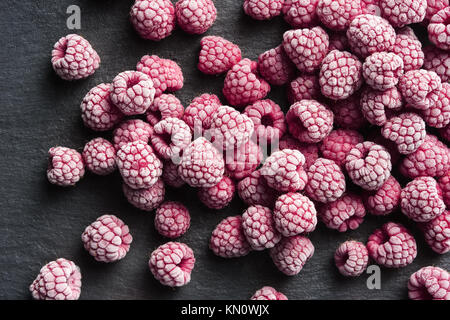 Frozen raspberry. Close up. Top view. High resolution product. - Stock Photo