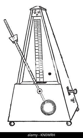 Metronome isolated on white, vintage engraved illustration  Trousset encyclopedia 1886 - 1891 - Stock Photo