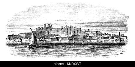 Montevideo, capital city of Uruguay, vintage engraved illustration - Stock Photo
