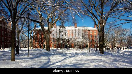 Red brick dorm building in snow-covered Harvard Yard, the old heart of Harvard University campus in Cambridge, MA - Stock Photo