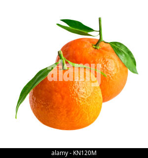 Mandarins or tangerines isolated on white with clipping path. Two tangerines in close-up - Stock Photo