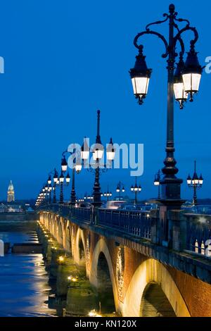 Pont de Pierre, Gironde, Aquitaine, France - Stock Photo