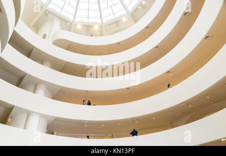 NEW YORK CITY - JULY 10: Interior of the Solomon R. Guggenheim Museum of modern and contemporary art in New York - Stock Photo