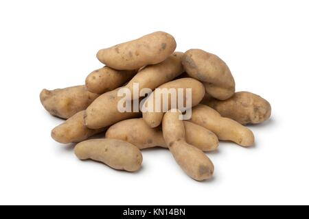 Fresh Ratte potatoes on white background - Stock Photo