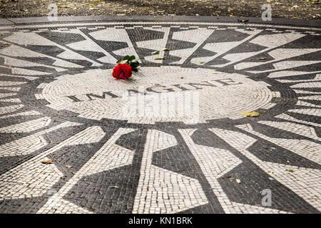 John Lennon Imagine memorial in Central Park NYC, Strawberry Fields