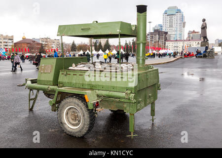 Samara, Russia - November 4, 2017: Mobile metal kitchen stove to feed soldiers at the Kuibyshev square in Samara, - Stock Photo