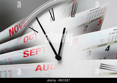 Composite of Clock Face and Calendars - Stock Photo