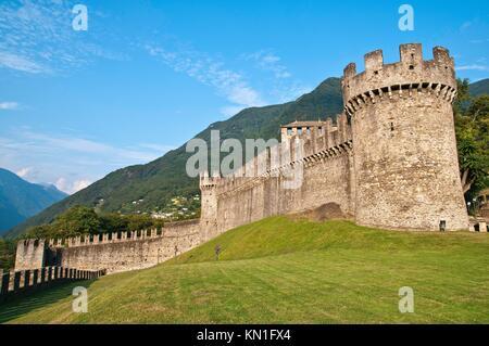 Bellinzona is the capital of the canton Ticino in Switzerland. - Stock Photo