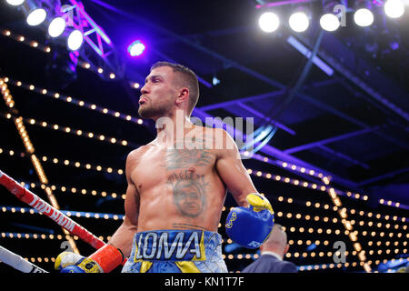 New York, Estados Unidos. 10th Dec, 2017. Ukrainian boxer Vasyl Lomachenko reacts during a world title fight, at Madison Square Garden in New York, USA, 09 December 2017. Credit: Kena Betancur/EFE/Alamy Live News Stock Photo