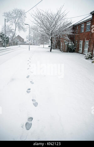 Footprints in the Snow. The Retreat, a residential street in Princes Risborough, Buckinghamshire, UK.