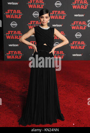 Los Angeles, USA. 09th Dec, 2017. Singer Sofia Carson attends the World Premiere of Disney Pictures and Lucasfilm's - Stock Photo