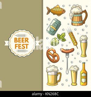 A set of Oktoberfest icons.  illustration in cartoon style, isolated on white background - Stock Photo