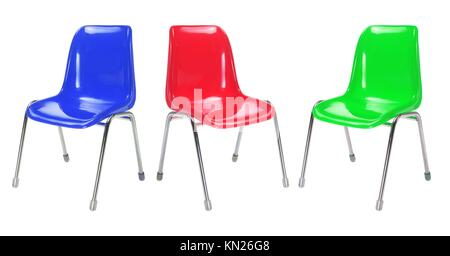 Plastic Chairs on White Background - Stock Photo
