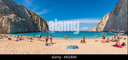 ZAKYNTHOS, GREECE, September 27, 2017: Panoramic view of Navagio (Shipwreck) Beach in Zakynthos. Navagio Beach is - Stock Photo