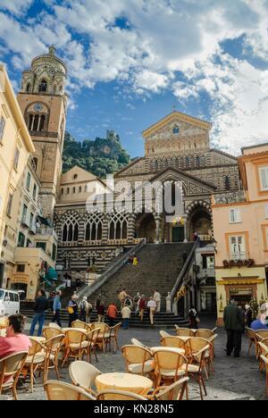 Cathedral of Amalfi, Piazza Duomo, Amalfi, Amalfi coast / Costiera Amalfitana, Province of Salerno, Campania, Italy, - Stock Photo