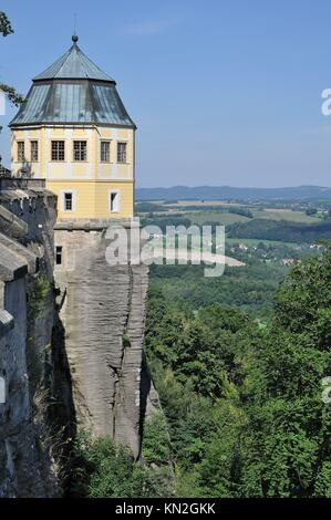 dungeon over elbe, konigstein, baroque tower of the ancient fortress on a cliff that views over elbe valley - Stock Photo