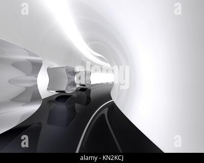 Futuristic architecture space round corridor like sci-fi white indoor - Stock Photo
