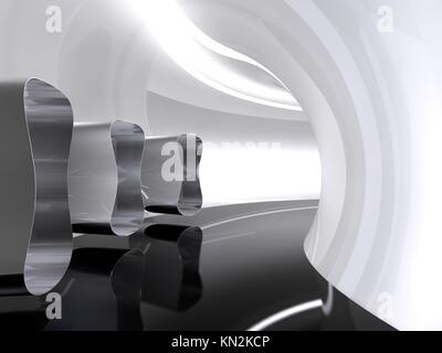 Futuristic architecture space round corridor like sci-fi white indoor - Stock Photo