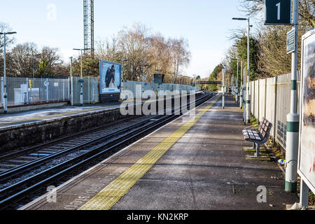 Ashtead Railway Station Platform in Surrey United Kingdom - Stock Photo