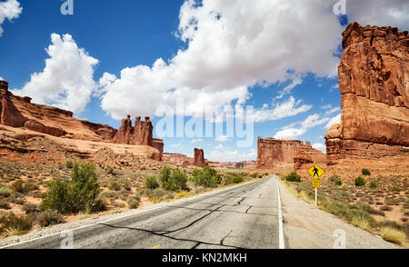 Scenic road in Arches National Park in Utah, USA. - Stock Photo