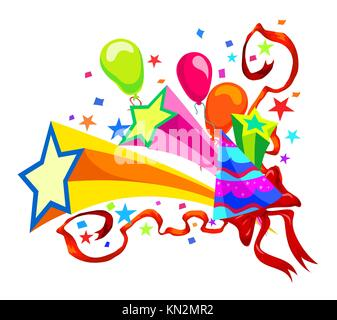 Celebration with balloons, stars, party hats, ribbons and confetti, vector illustration - Stock Photo