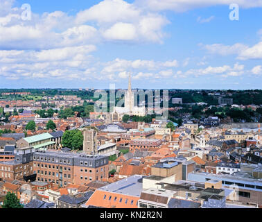 Urban Planning, Location, Cathedral, Norwich. Norfolk, England, United Kingdom - Stock Photo
