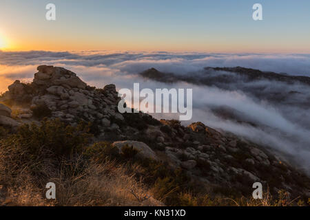 Sunrise clouds in the Santa Susana Pass above the San Fernando Valley in Los Angeles, California.