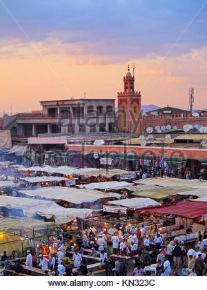 Jamaa el Fna - famous square in Marrakech, Morocco, Africa. - Stock Photo