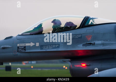 The cockpit of a F-16 fighter jet of the Royal Netherlands Air Force during a night mission at the Volkel airbase. - Stock Photo