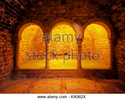 Arab Baths - the romanesque building, which imitated the structure of the moslem baths in Girona, Catalonia, Spain. - Stock Photo