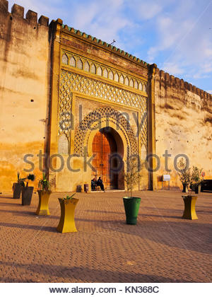 Bab Mansour - beautifully decorated gate of the old medina in Meknes, Morocco, Africa. - Stock Photo