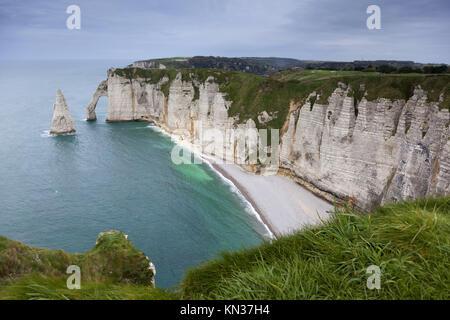 Coast in Etretat, Haute Normandie, France. - Stock Photo