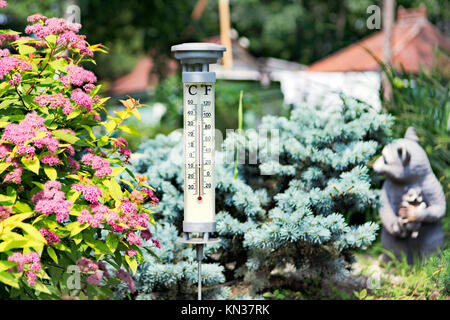 Modern stylish outdoor thermometer in the garden. - Stock Photo