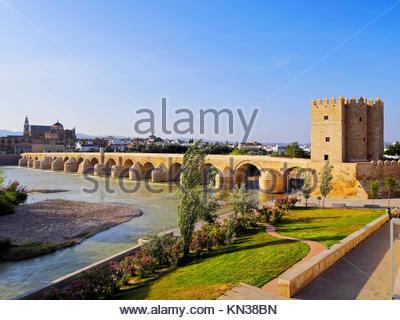Torre de la Calahorra - Calahorra Tower on the Roman Bridge in Cordoba, Andalusia, Spain. - Stock Photo