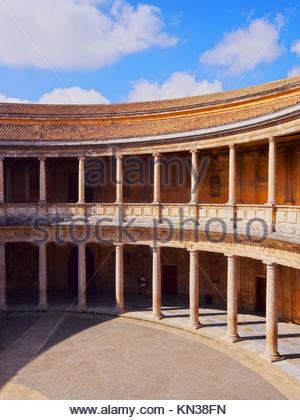 Palacio de Carlos V - The Palace of Charles V in Alhambra, Granada, Andalusia, Spain. - Stock Photo