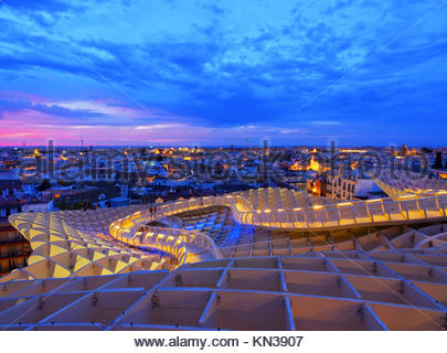 Night view of Metropol Parasol on La Encarnacion Square in Seville, Andalusia, Spain. - Stock Photo